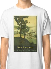 New England Americas Historic Summerland Vintage Travel Poster Classic T-Shirt