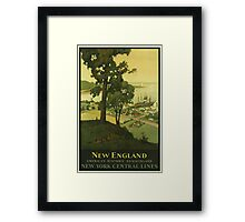 New England Americas Historic Summerland Vintage Travel Poster Framed Print