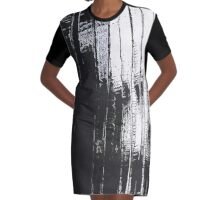 Grunge Black & White Pattern Graphic T-Shirt Dress