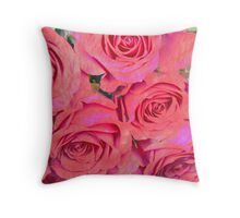 Painterly Pink Roses Throw Pillow