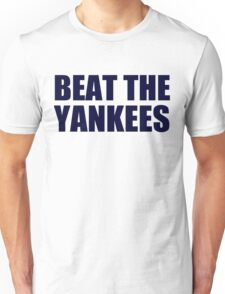 Boston Red Sox - BEAT THE YANKEES - Blue Text Unisex T-Shirt