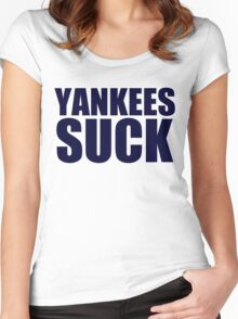 Boston Red Sox - YANKEES SUCK - Blue Text Women's Fitted Scoop T-Shirt