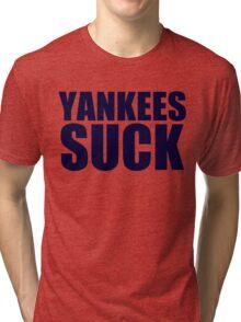 Boston Red Sox - YANKEES SUCK - Blue Text Tri-blend T-Shirt