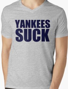 Boston Red Sox - YANKEES SUCK - Blue Text Mens V-Neck T-Shirt