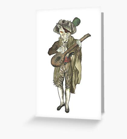 Pirate Musician Cat  Greeting Card