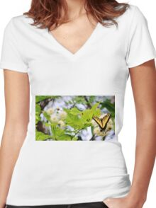 Butterfly On Buttonbush Women's Fitted V-Neck T-Shirt