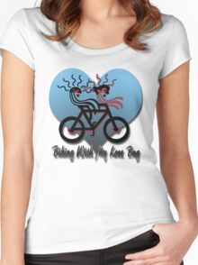 Biking With My Love Bug  Women's Fitted Scoop T-Shirt
