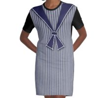 Cute French School Girl Sailor Style Graphic T-Shirt Dress