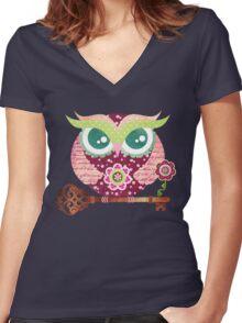 Spring Blossom Owl Women's Fitted V-Neck T-Shirt