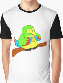 A Green Parrot and a Mango Graphic T-Shirt