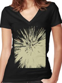 Abstract Explosion Line Art Pattern Women's Fitted V-Neck T-Shirt