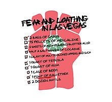 Fear and Loathing in Las Vegas checklist Photographic Print