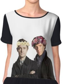 BBC Sherlock- Sherlock and John Flower Crowns  Chiffon Top