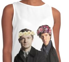 BBC Sherlock- Sherlock and John Flower Crowns  Contrast Tank