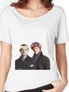 BBC Sherlock- Sherlock and John Flower Crowns  Women's Relaxed Fit T-Shirt