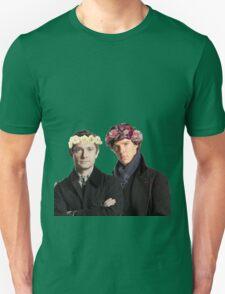 BBC Sherlock- Sherlock and John Flower Crowns  Unisex T-Shirt