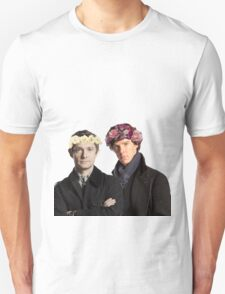 BBC Sherlock- Sherlock and John Flower Crowns  Unisex T-Shirt