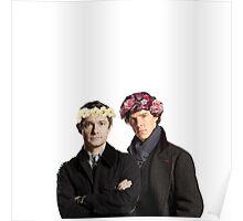 BBC Sherlock- Sherlock and John Flower Crowns  Poster