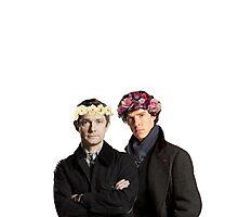 BBC Sherlock- Sherlock and John Flower Crowns  Photographic Print