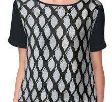Black and Light Blue Geometric Pattern Chiffon Top
