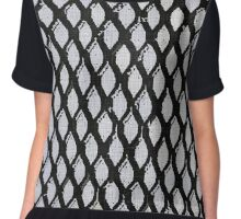 Black and Light Blue Geometric Pattern Chiffon Top