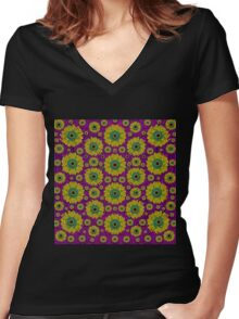 Sunroses mixed with stars in a moonlight serenade Women's Fitted V-Neck T-Shirt