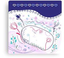 "Beautiful Original Art Creation ( Lake Hand Drawing ) - ""Nature making Love"" Canvas Print"