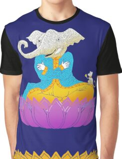 Ganesh on Lotus with Mouse Graphic T-Shirt