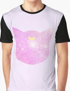 Meow? Luna - Pink Galaxy Graphic T-Shirt