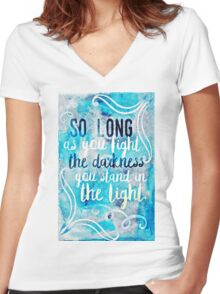 a torch against the night Women's Fitted V-Neck T-Shirt