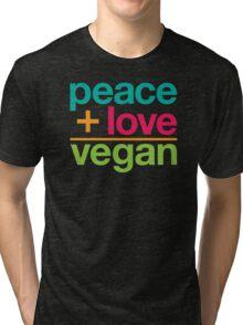 peace + love = vegan Tri-blend T-Shirt