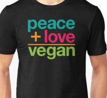 peace + love = vegan Unisex T-Shirt