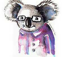 Watercolour Koala with Glasses by Tristan Klein