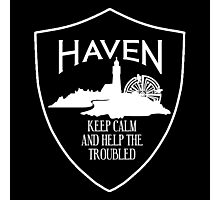 Haven Keep Calm White Logo Badge Photographic Print