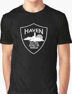 Haven Keep Calm White Logo Badge Graphic T-Shirt