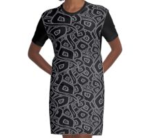 Black and grey abstract leaves Graphic T-Shirt Dress
