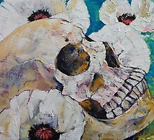 Skull with White Poppies by Michael Creese