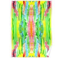 Hand-Painted Abstract Watercolor in Bright Rainbow Hues Poster