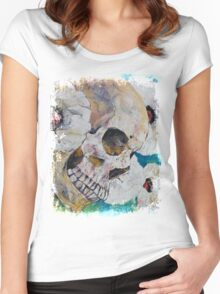 Skull with White Poppies Women's Fitted Scoop T-Shirt