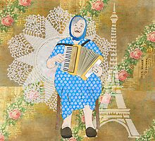 Woman Playing the Accordion by Janet Carlson