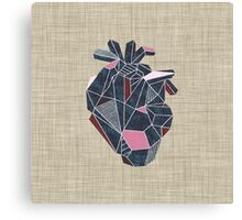 Geometric Blue Heart Canvas Print