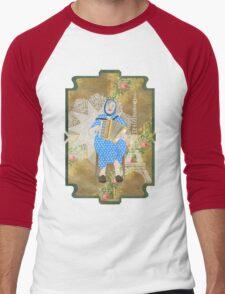 Woman Playing the Accordion Men's Baseball ¾ T-Shirt