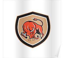 Angry Bull Charging Shield Cartoon Poster