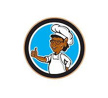 African American Chef Cook Thumbs Up Circle by patrimonio