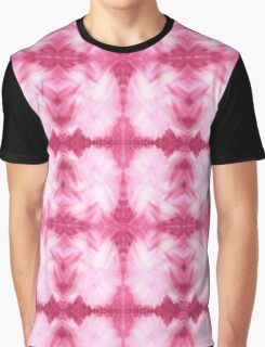 Hand-Painted Abstract Watercolor in Dark Pink and White Graphic T-Shirt
