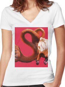 beeg birds Women's Fitted V-Neck T-Shirt