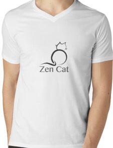 Zen Cat with Zen Symbol Mens V-Neck T-Shirt