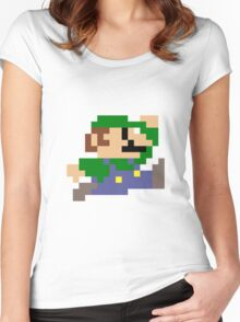Luigi jumping - pixel art Women's Fitted Scoop T-Shirt