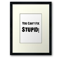 You Can't Fix Stupid Funny Shirt Sticker Poster Framed Print