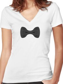 Black Tie T-Shirt Women's Fitted V-Neck T-Shirt